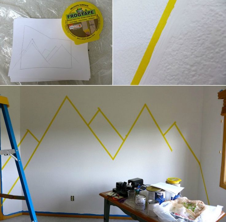 wall design-color-DIY-mural-mountain-drawing-painter crepe first-Schrit …  – Kinderzimmer