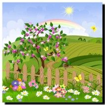 Children's Meadow on canvas.  Price: $25  Ships worldwide from http://www.thecanvasartfactory.com.au  #nature #fence #children #art #canvas