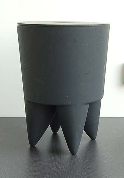 Grey plastic polypropylene stool with cover Bubu design Phillipe Starck 1996 executed by 3 Suisses / France