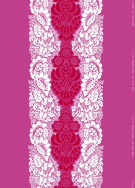 Marimekko - oh! somebody put it on a chair, please!!!!! Would love this fabric for a bedroom....maybe for a coverlet and shams and window treatments and cornices.....or use it on the walls rather than using wallpaper....love that pink!!!