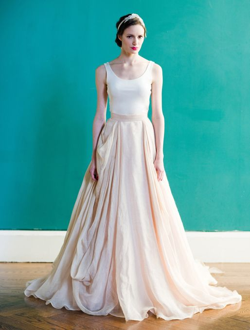 """Brides: Carol Hannah - Spring 2013. """"Kensington"""" draped linen and cotton ball gown wedding dress with a scoop neckline and blush and champagne layered skirt, Carol Hannah"""