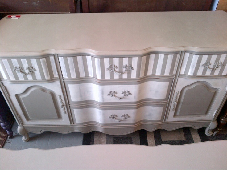 vintage french provincial buffet in french linen/paris grey mix with a white wash for the lines, distressing with clear wax