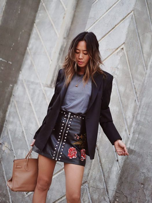 Embroidered Leather Skirt For the Office | Song of Style | Bloglovin'