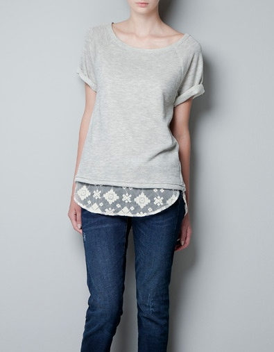 T-SHIRT WITH A LACE HEM AND A BOW - T-shirts - Woman - ZARA Spain