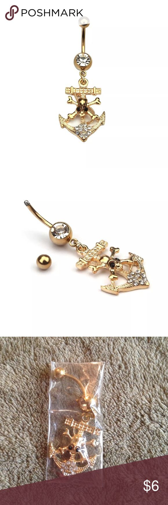 New gold skull and anchor belly ring Brand new Jewelry