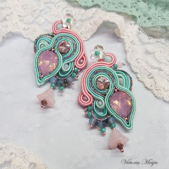 Glamour Dangle Earrings - Soutache Earrings with Crystals - Handmade Earrings  When I first saw the jewelry in the technique of soutache embroidery, I thought - it is the real magic.  These unique dangle earrings were created using the very intricate technique of soutache. Soutache Embroidery is a type of advanced bead embroidery in wich I use viscose cords and beads to create truly unique jewelry. All jewelry is handmade by me with love and best wishes, and can turn an ordinary girl into a…