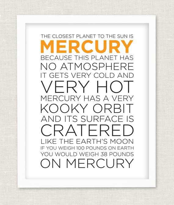 Modern Planet Mercury Solar System Fact Sheet by pennyluxesales, $34.00