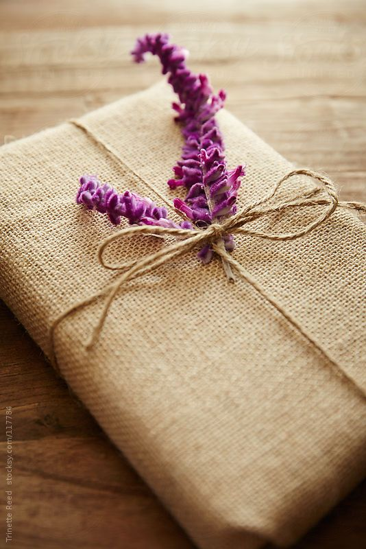 Burlap gift wrapping by Trinette Reed -#burlap #flower #purple