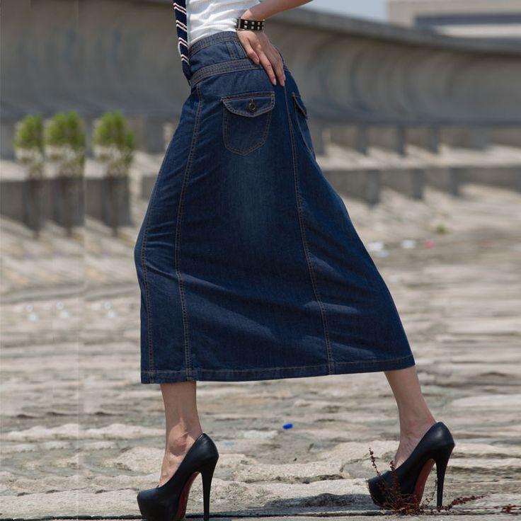 Aliexpress.com: Comprar Envío gratis Denim falda para mujer mitad longitud de la falda del a line ol 2015 faldas largas solo pecho pantalones vaqueros de media longitud faldas de falda trajes confiables proveedores de Fashion Jeans-Professional Wholesale & Retail.
