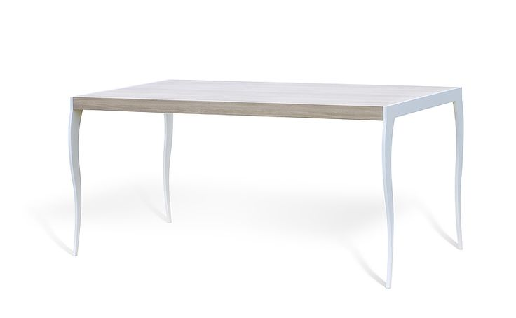 UP2U kitchen table. Size: 160x90. Colour: Pure. Leg type: GLAM. Leg colour: White Matte. - www.miloni.pl/en MILONI: wooden table, oak table, natural wood table, table design, furniture design, modern table