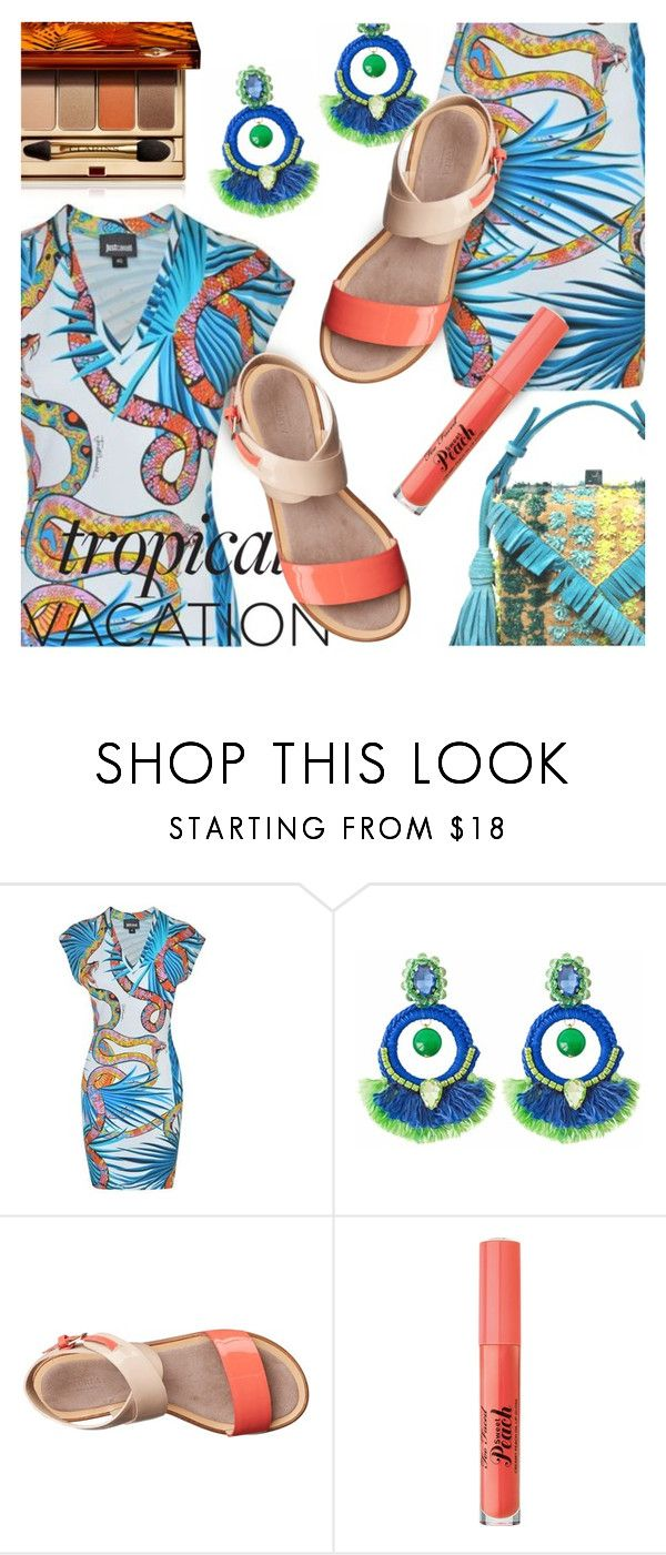 """Go Tropical"" by stacey-lynne ❤ liked on Polyvore featuring Just Cavalli, Ricardo Rodriguez, Furla, Too Faced Cosmetics and Clarins"