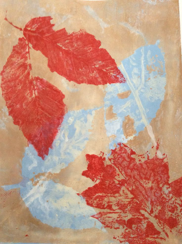 "Gelli Print and Leaf Stamp "" At peace"" by Jeanne Turmel"