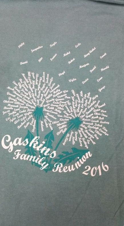 Family reunion T-shirt design I created with the family members' names. Those that have passed are the names floating away, but still in our memories.