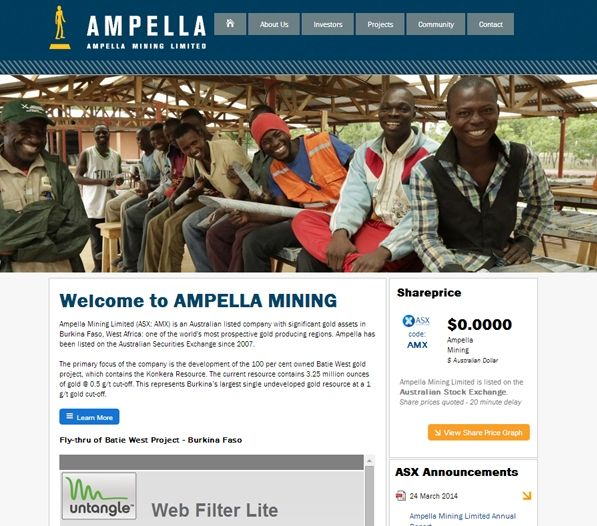 The site that Exa has created for Ampella is efficient and clean. Several drop-down menus allow ease of navigation between elements that provide detailed information about the structure of the company, how it operates and the positive contributions it is making to Burkina Faso. Several videos are embedded on the site that demonstrate the sort of work Ampella are doing and a live feed of the share price is featured on the home page.