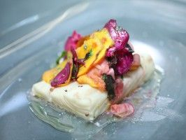 Beer Poached Pacific Halibut with Baby Shaved Root Vegetables, Tarragon Vinaigrette