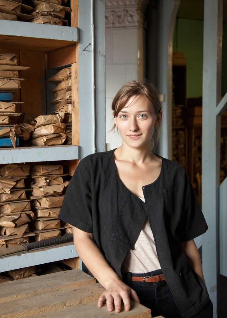 Julia Kalthoff, CEO of Wetterlings Swedish Axe Works works, in the company's archives in Storvik, Sweden. Wetterlings has been making axes since 1880. Leslie Williamson