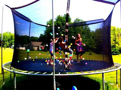 Fun Summer Activity For Kids... Trampoline, sprinkler, and water balloons all at once!