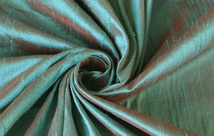Robin's Egg Blue Red Orange iridescent 100% Dupioni Silk Fabric.  Craving this fabric/color.