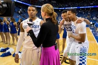 Kentucky guard Tyler Ulis, left, is interviewed by ESPN's Shannon Spake while guard Isaiah Briscoe, right, and guard Jamal Murray. Cats win 80-74 #BBN