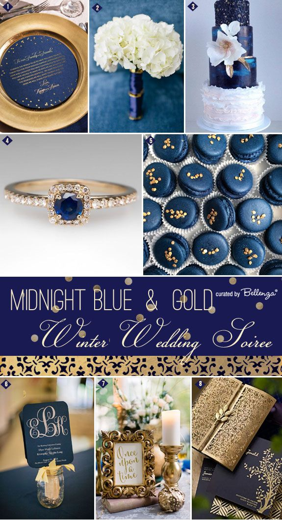 Wintertime! What does it bring to mind? Luxurious details painted in blue and gold, of course! This is the inspiration for today's post: http://www.bellenza.com/wedding-ideas/decorate/midnight-blue-gold-inspiration-winter-wedding-soiree-series.html
