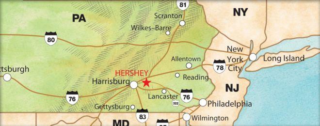 more detailed location of Hershey, PA | Hershey ...  Hershey