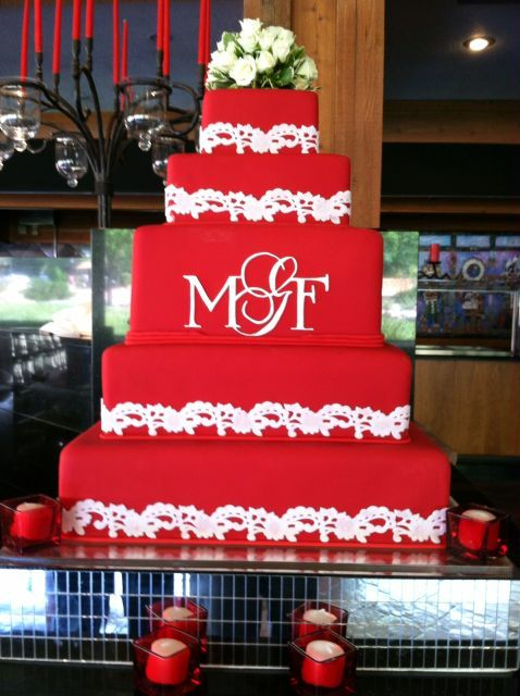 Amazing red square Wedding Cakes | Sweet Cakes by Karen
