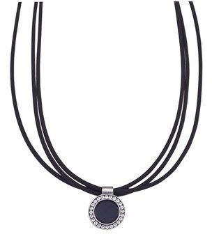 "Jewelista 16"" Nitrile Rubber & Stainless Steel Pendant Necklace."