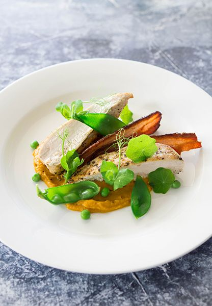 Roast Chicken, Pumpkin Puree, Maple Bacon and Peas | Special Occasion Dinner For Two