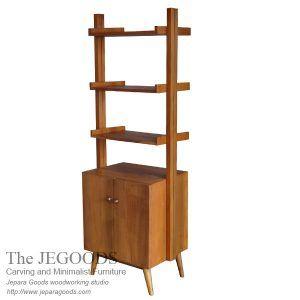 Retro teak rack bookshelf vintage scandinavia Jepara craftsman indonesia. Teak furniture woodworking manufacturer exporter Indonesia at factory prices.