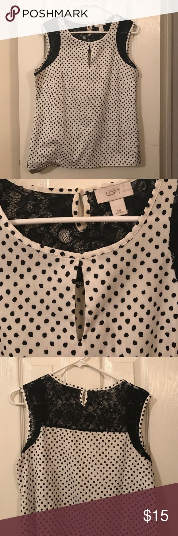 Polka dot shell top with lace Dress it up or down! Mostly cream with black polka dots but has beautiful lace details around the sleeve holes/back and an eyelet on the chest. LOFT Tops Blouses