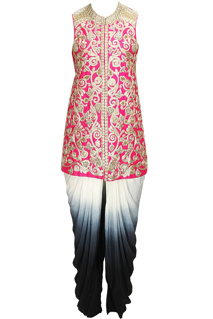 Pink embroidered jacket with shaded dhoti pants available only at Pernia's Pop-Up Shop.