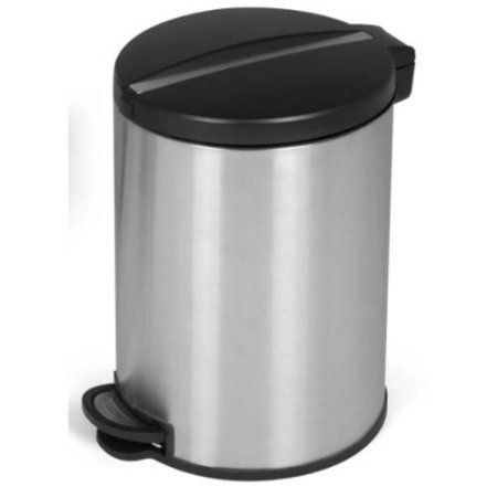 JoyWare 5 Liter / 1.32 Gallon Round Shaped Stainless Steel Step-On Trash Can, Silver