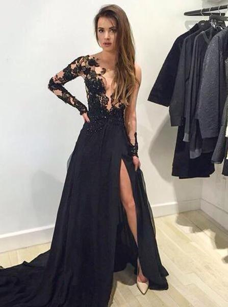 A-line Princess Illusion Neck Appliques Prom Dresses, Long Sleeve Sexy Black Dresses ASD26707