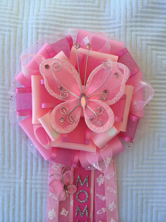 Butterfly Baby Shower Corsage   Girl Baby Shower Pin   Summer Baby Shower    Spring Baby