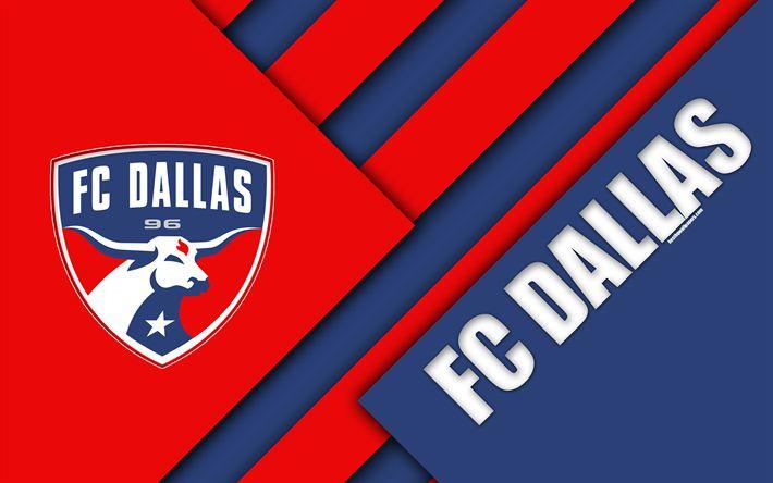 Download wallpapers FC Dallas, material design, 4k, logo, red blue abstraction, MLS, football, Dallas, Texas, USA, Major League Soccer