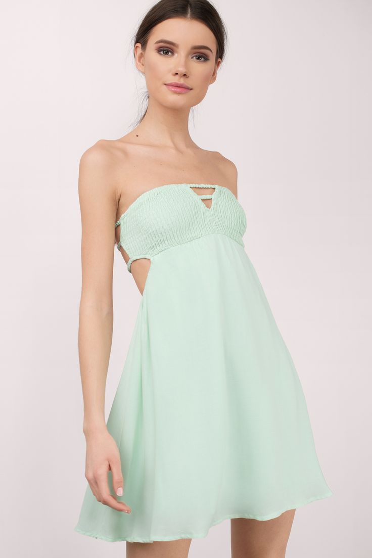 "Search ""Sunny Shores Mint Day Dress"" on Tobi.com! strapless empire waist keyhole cutout swing short easter dress for teens college student juniors women petite"