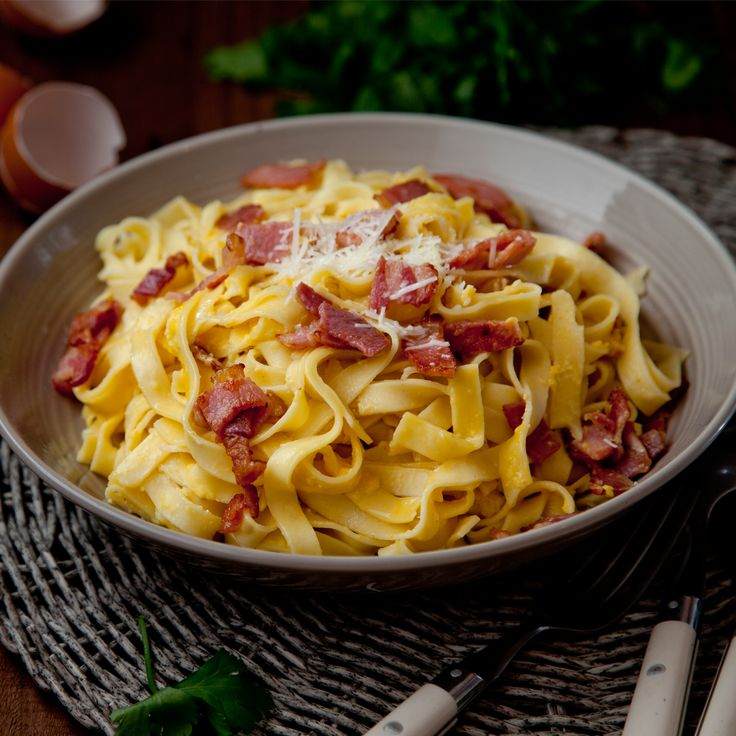 Fresh Fettuccine Carbonara. This is a traditional carbonara recipe made only with egg yolk to enrich the pasta dish, but you could add 50ml of cream if you wish.
