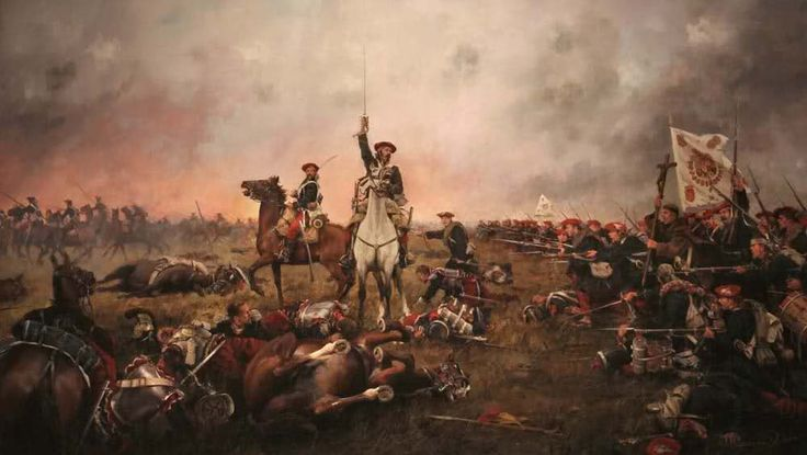 'CALDEROTE' - 'Utilizaron sus corazas para cocer el calderote'. (Del principe Lichnowsky, durante la expedición real). Estrepitosa derrota de los coraceros liberales contra los lanceros y la infantería de la Expedición Real 1837. España no contaba con regimientos de coraceros hasta 1812, en que Fernando VII formó uno. Este lienzo de Ferrer-Dalmau representa la carga de infantería carlista, tiene unas dimensiones de 2x1 metros.