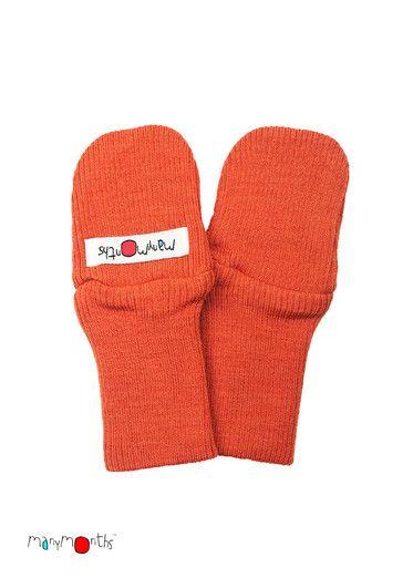 KoKoBello - barnkläder, leksaker & bärsjalar - Orange vantar i naturlig ull från Manymonths - autumn sunset