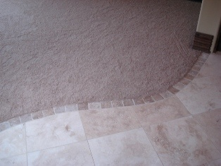 Nice detail great way to transition from carpet to tile for Flooring transition from kitchen to family room