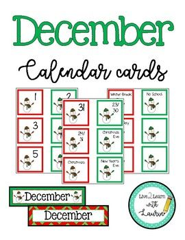 "December Calendar Numbers: These numbers would be the perfect addition to your winter holiday classroom decor! Included: ~numbers 1-31, 23/30, 24/31 Size: 2.5"" squares ~2 December Month Labels Size: 2.5"" x 10 "" ~Holiday and Events: Christmas Eve"
