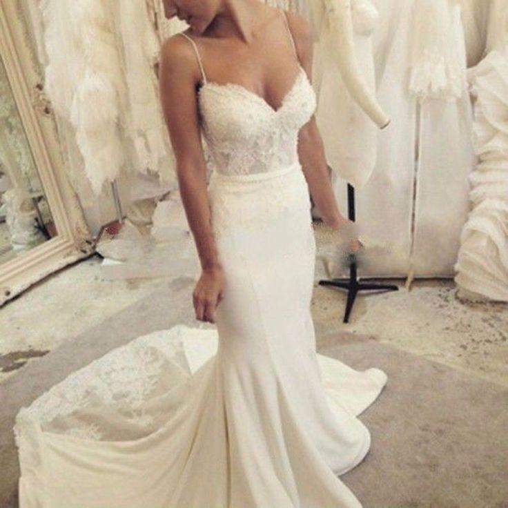 New White/ivory Lace Satin Spaghetti Straps Mermaid Wedding Dress Bridal Gown PT