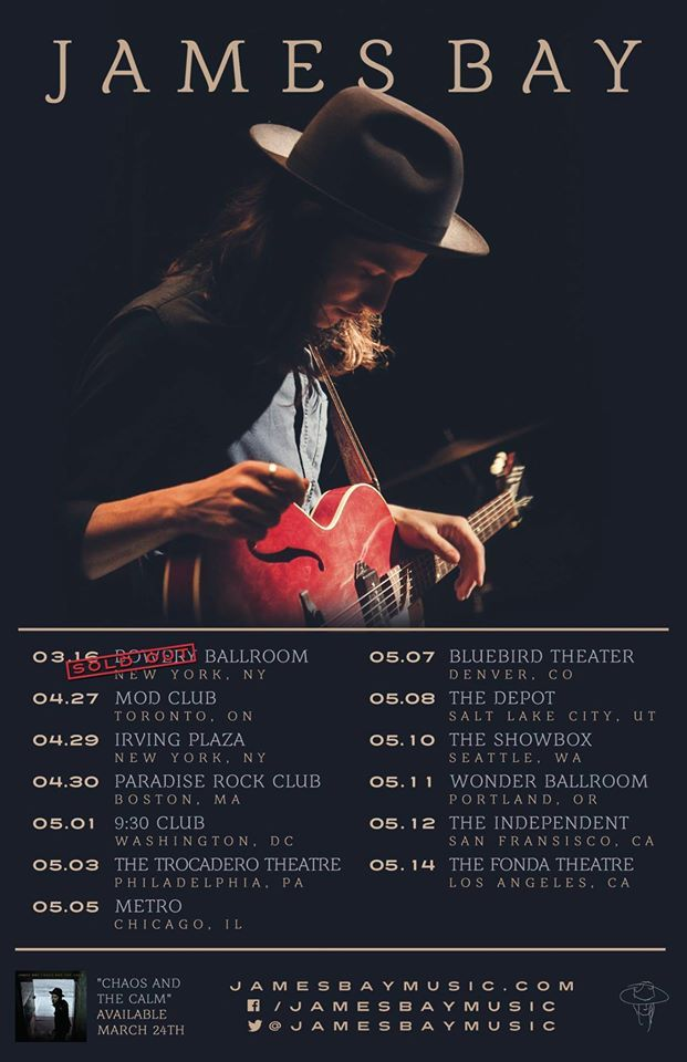 NEWS: The singer songwriter, James Bay, has announced a spring tour, in North America. He will be supporting his latest album, Chaos and The Calm. You can check out the dates and details at http://digtb.us/1Mej85t