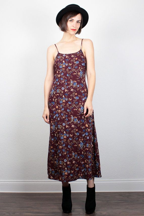 Vintage 90s Dress Midi Dress Burgundy Floral Sundress 1990s Dress Soft Grunge Dress Maxi Dress Ditsy Floral Boho Dress S Small M Medium by ShopTwitchVintage #vintage #etsy #90s #1990s #dress #mididress #midi #grunge #softgrunge #floral #sundress