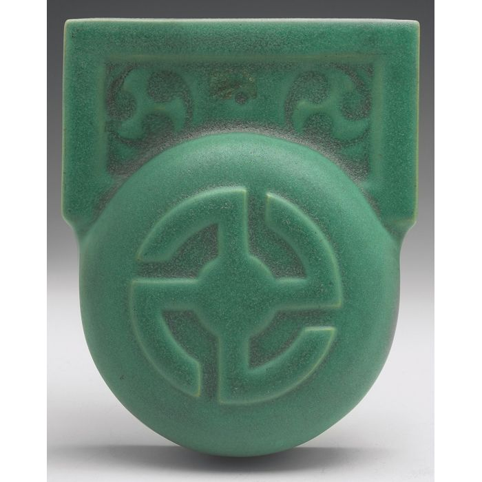 """Teco Pottery - Wall Pocket. Number 439A. Designed by William Gates. 5-1/2"""" x 6-1/2""""."""