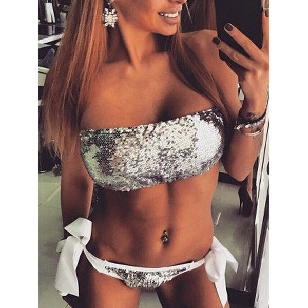 Choies Silver Sequin Embellished Bandeau Bikini Top and Tie Brief... ($12) ❤ liked on Polyvore featuring swimwear, bikinis, silver, sequin swimwear, sequin bikini, tie-dye swimwear, tie bandeau bikini top and bandeau bikini tops