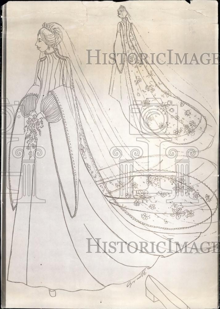 Sketch of Princess Anne's wedding dress, with fringe tiara ...