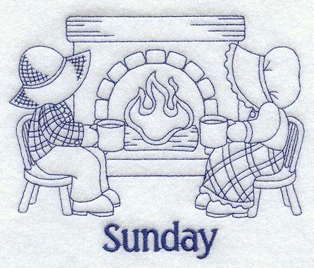 Sunbonnet Sue and Fishermen Fred on Sunday (Bluework)