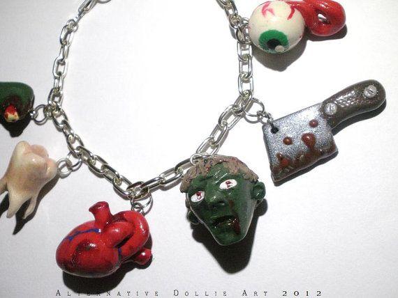 Zombie Parts Charm Bracelet by AlternativeDollieArt on Etsy, $26.00