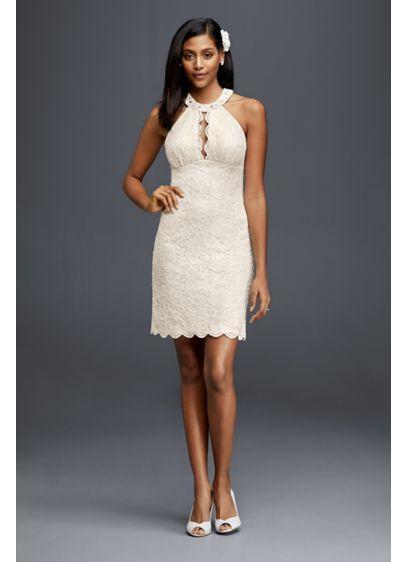 Beautiful Short Halter Wedding Dress with Keyhole Cutout D